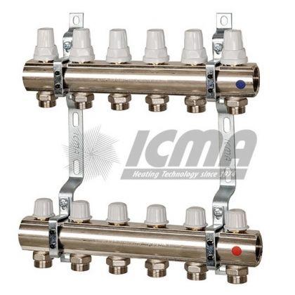 Set distribuitor/colector, cu robineti termostatici si robineti micrometrici - ICMA K005 5 cai